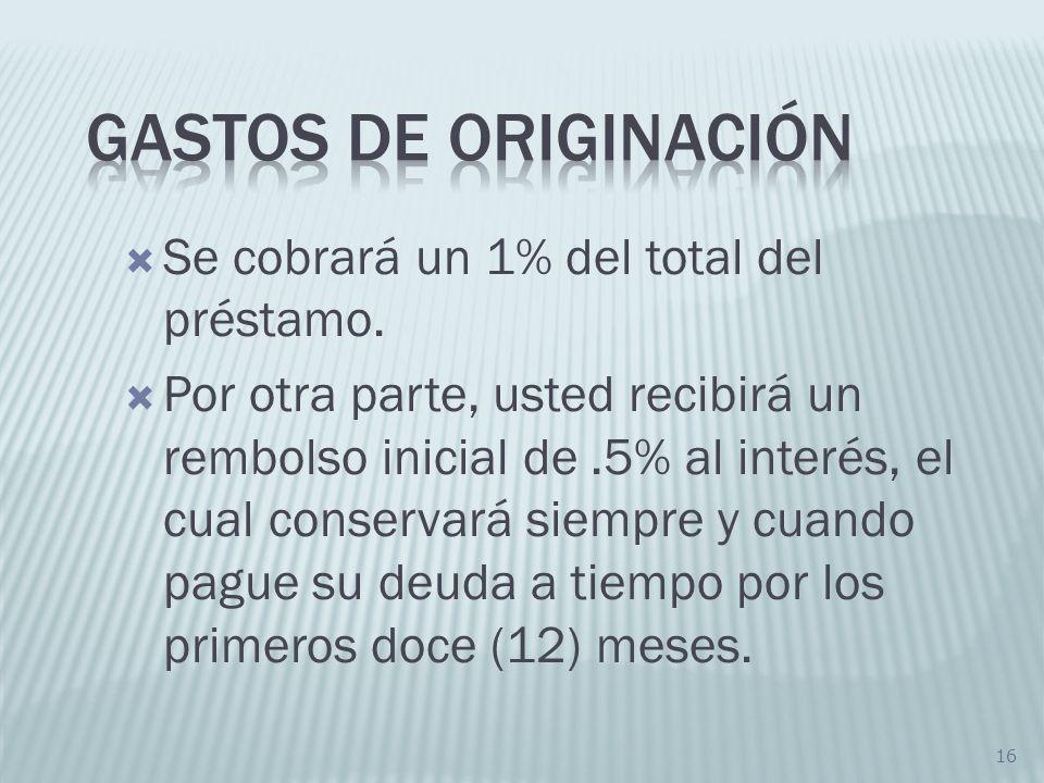 Gastos de originación Se cobrará un 1% del total del préstamo.