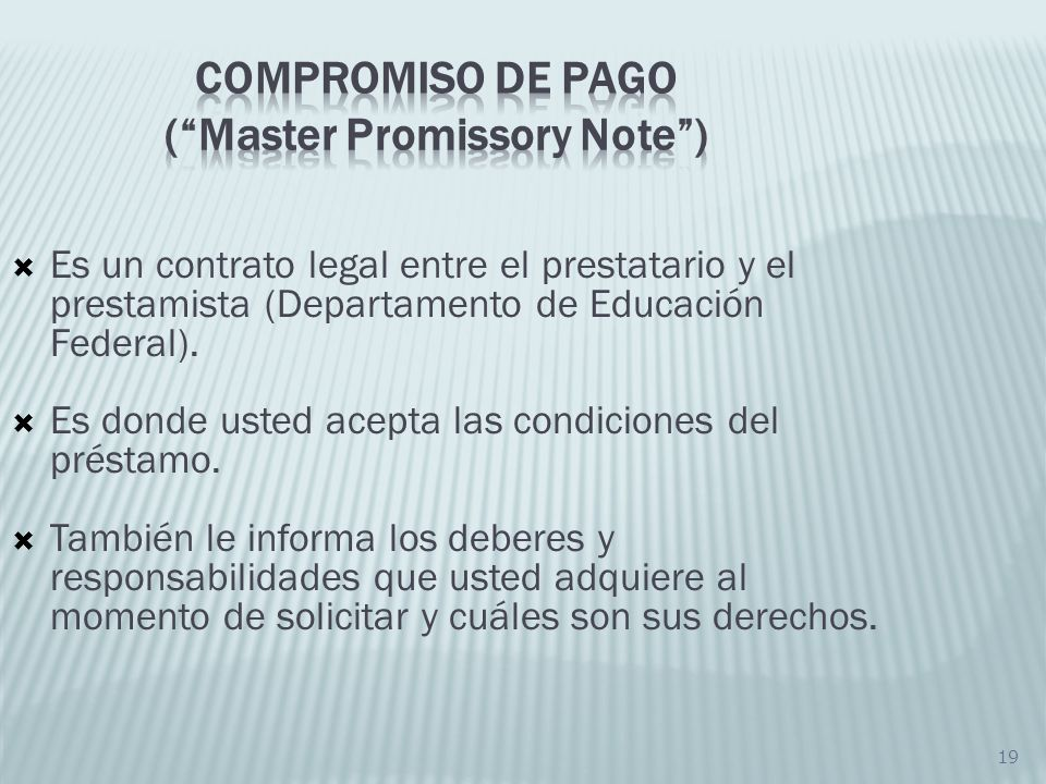 Compromiso de Pago ( Master Promissory Note )