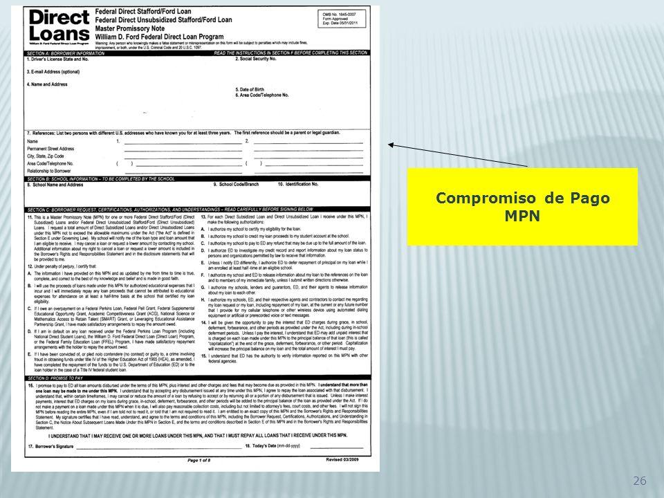 Compromiso de Pago MPN
