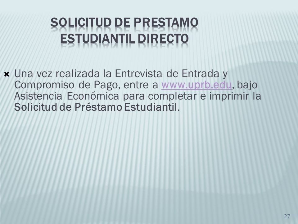 SOLICITUD DE PRESTAMO ESTUDIANTIL DIRECTO