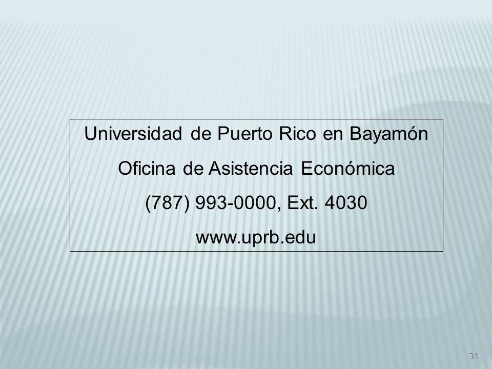 Universidad de Puerto Rico en Bayamón Oficina de Asistencia Económica