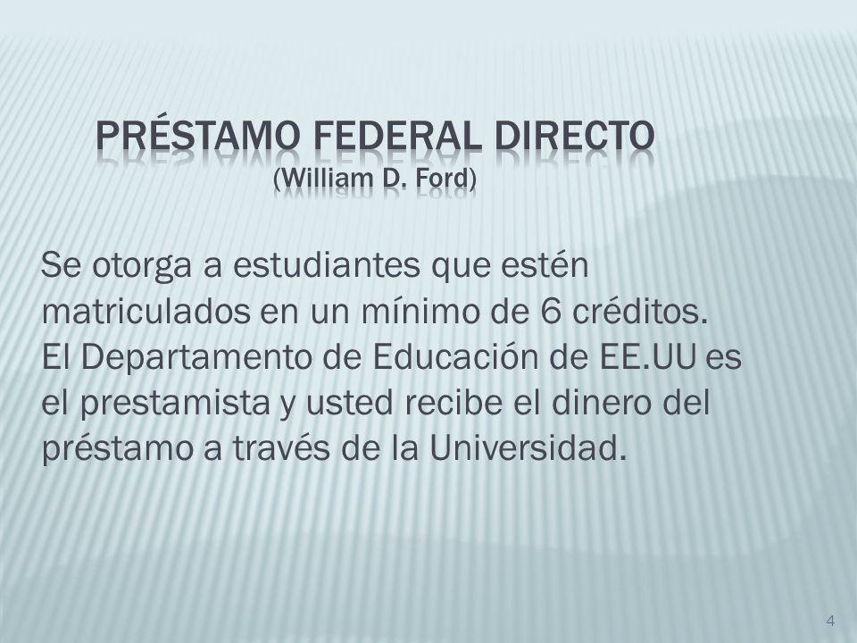 Préstamo FEDERAL DIRECTO (William D. Ford)