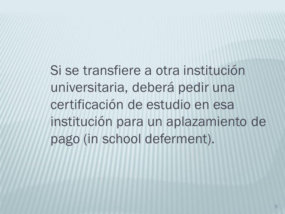 Si se transfiere a otra institución universitaria, deberá pedir una certificación de estudio en esa institución para un aplazamiento de pago (in school deferment).