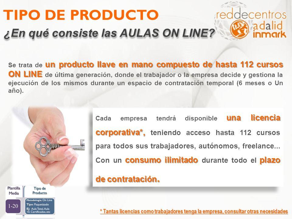TIPO DE PRODUCTO ¿En qué consiste las AULAS ON LINE