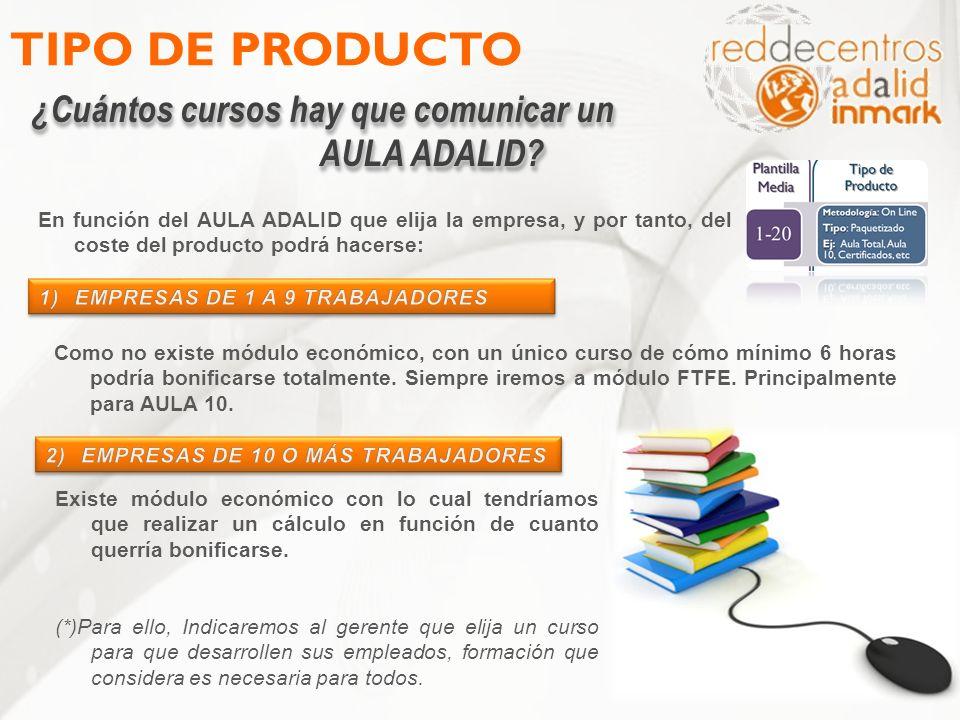TIPO DE PRODUCTO ¿Cuántos cursos hay que comunicar un AULA ADALID