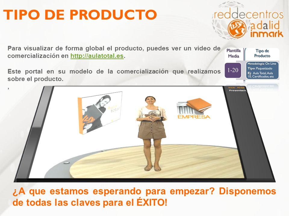 TIPO DE PRODUCTO Para visualizar de forma global el producto, puedes ver un video de comercialización en http://aulatotal.es.