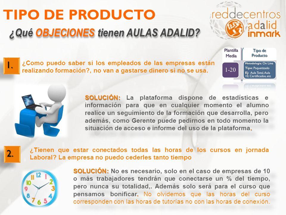 TIPO DE PRODUCTO ¿Qué OBJECIONES tienen AULAS ADALID 1. 2.