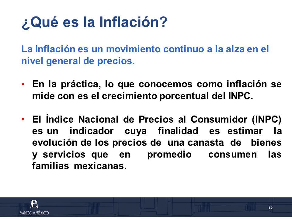 ¿Qué es la Inflación La Inflación es un movimiento continuo a la alza en el nivel general de precios.