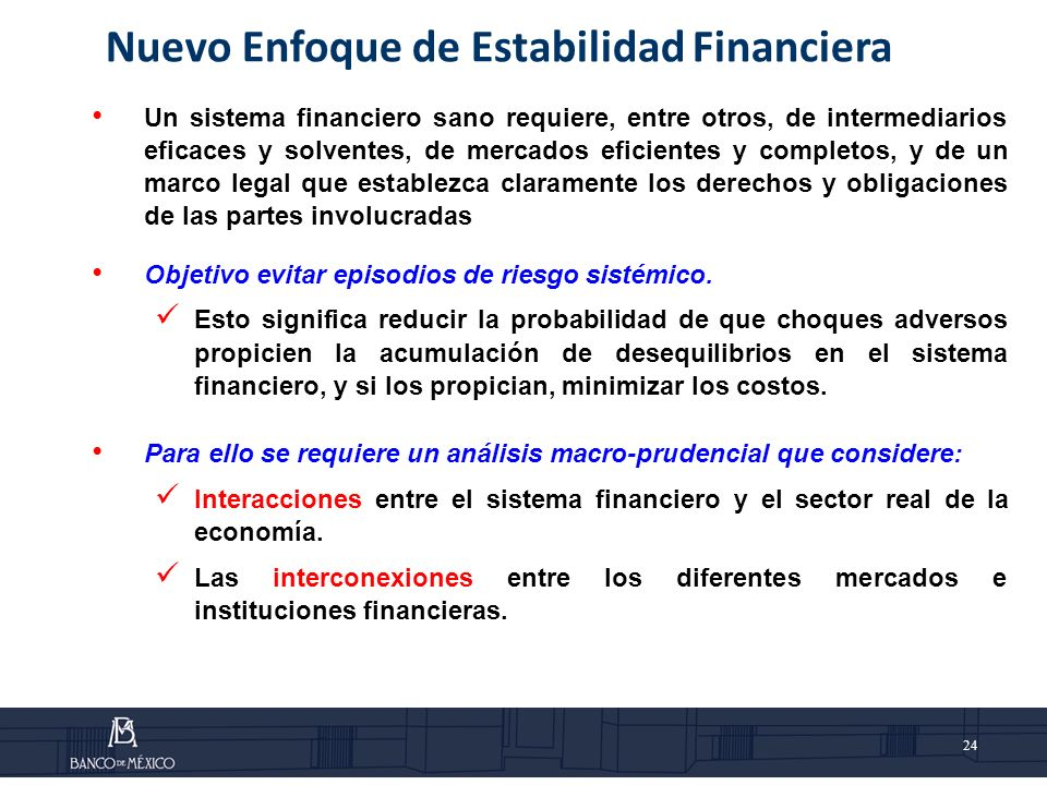 Nuevo Enfoque de Estabilidad Financiera
