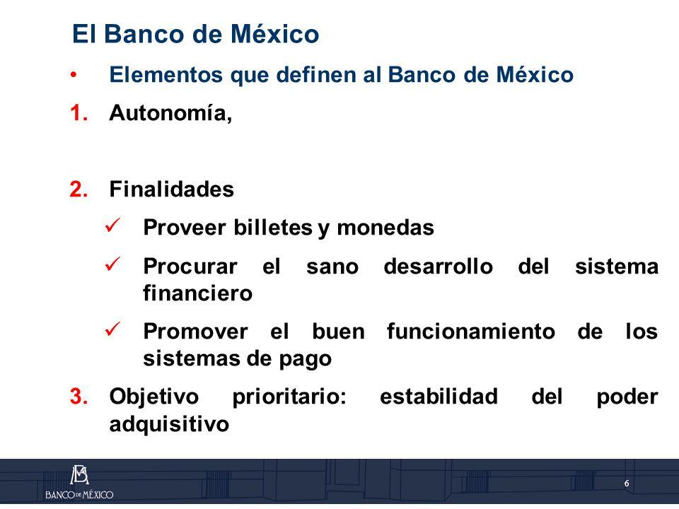 El Banco de México Elementos que definen al Banco de México Autonomía,