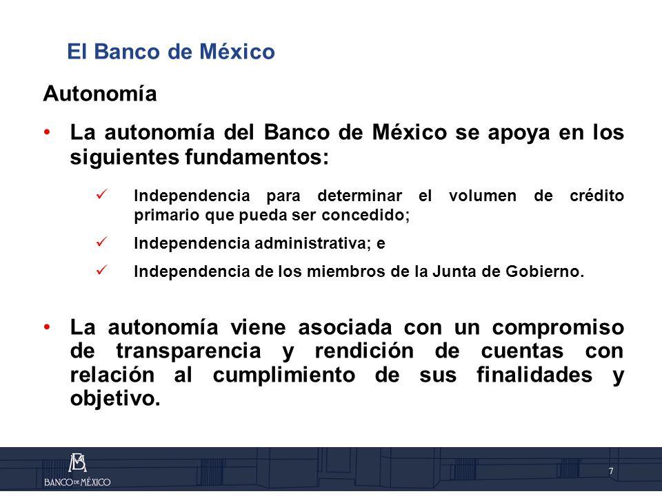 El Banco de México Autonomía