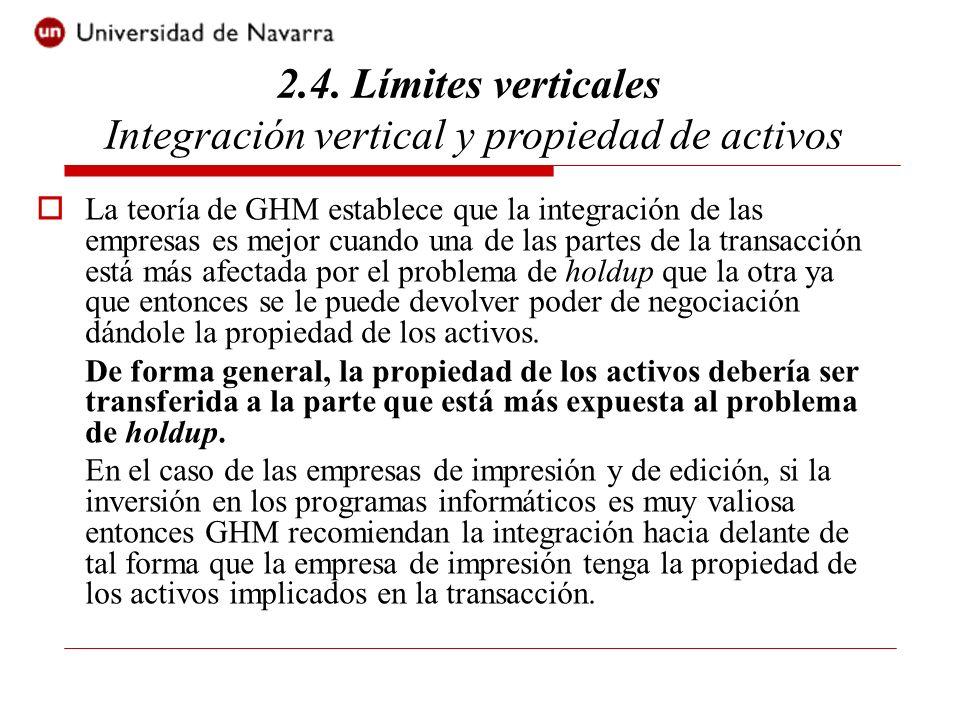 2.4. Límites verticales Integración vertical y propiedad de activos