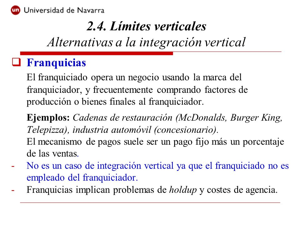 2.4. Límites verticales Alternativas a la integración vertical