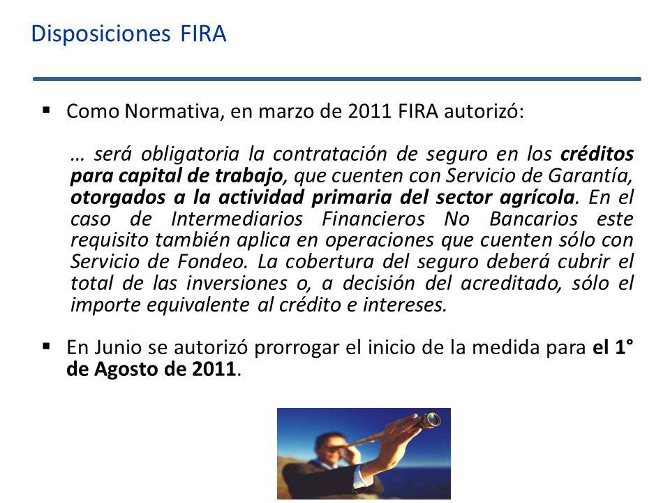 Disposiciones FIRA Como Normativa, en marzo de 2011 FIRA autorizó: