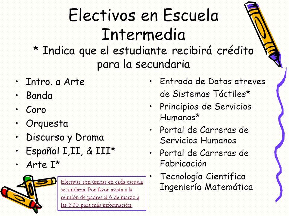 Electivos en Escuela Intermedia