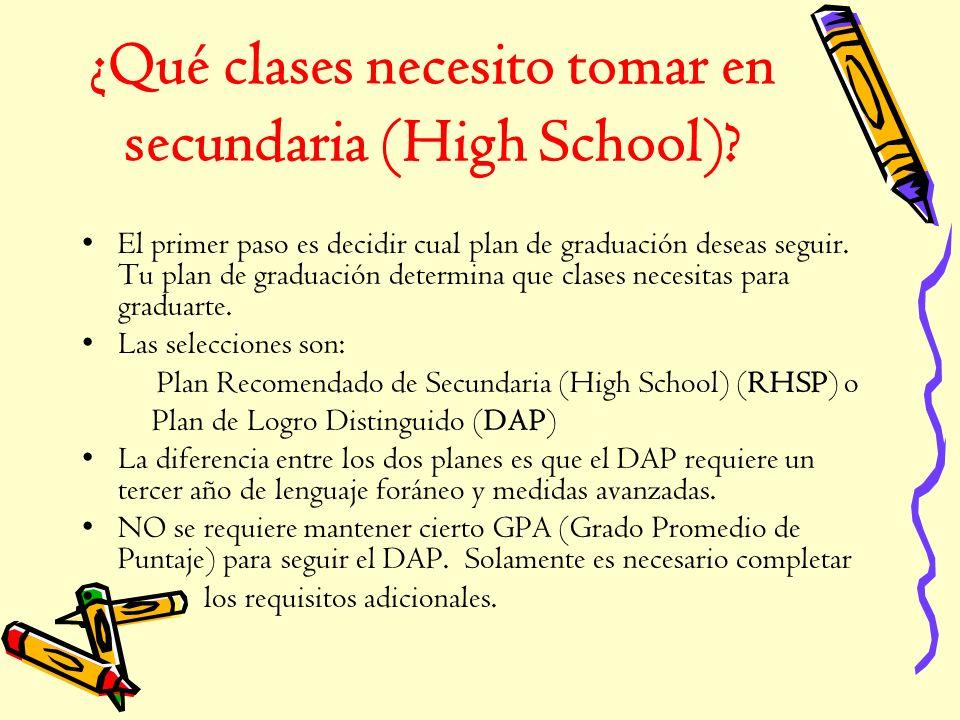 ¿Qué clases necesito tomar en secundaria (High School)