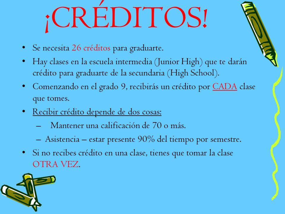 ¡CRÉDITOS! Se necesita 26 créditos para graduarte.
