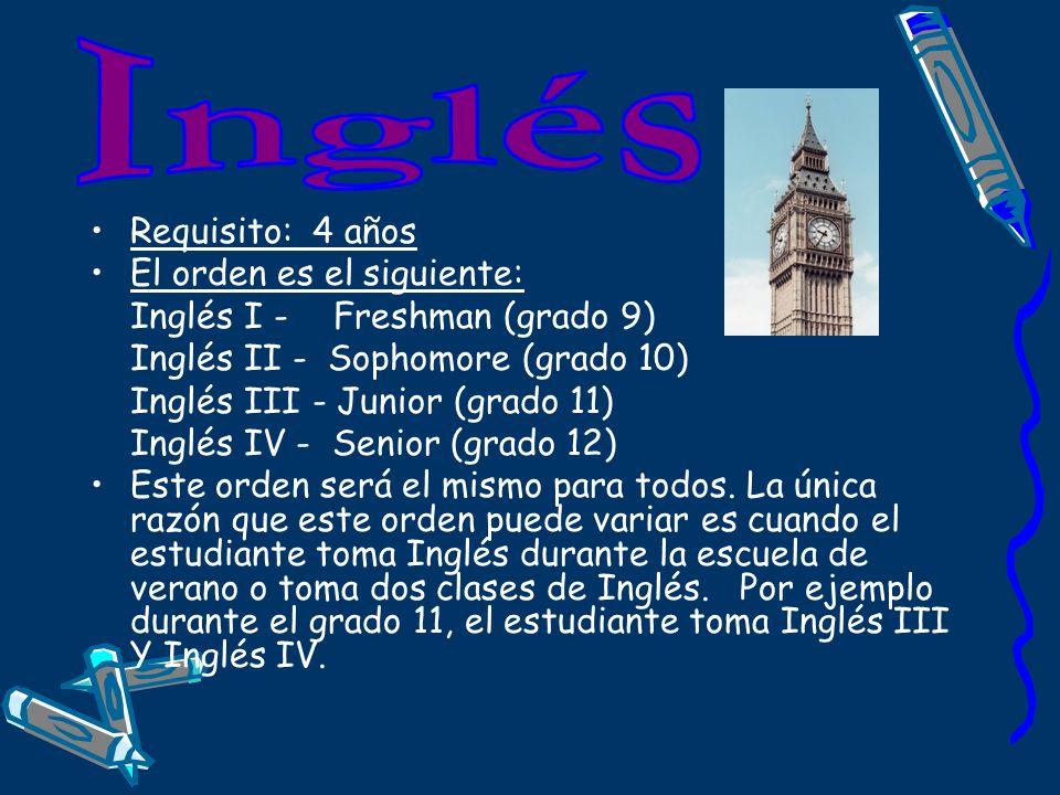Requisito: 4 años El orden es el siguiente: Inglés I - Freshman (grado 9) Inglés II - Sophomore (grado 10)