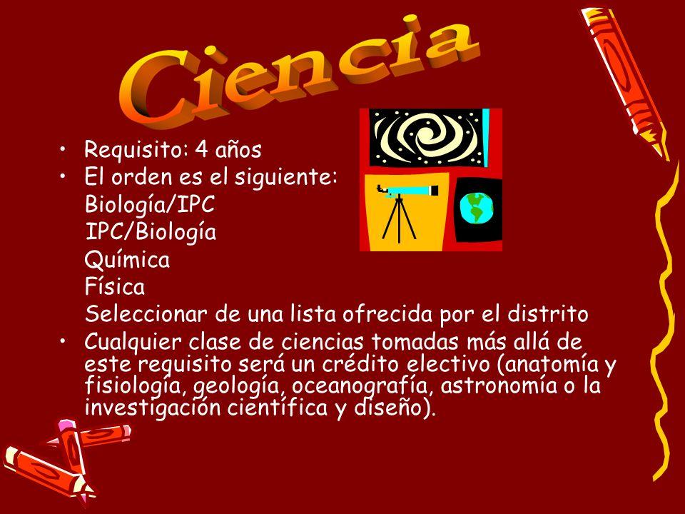 Requisito: 4 años El orden es el siguiente: Biología/IPC. IPC/Biología. Química. Física. Seleccionar de una lista ofrecida por el distrito.