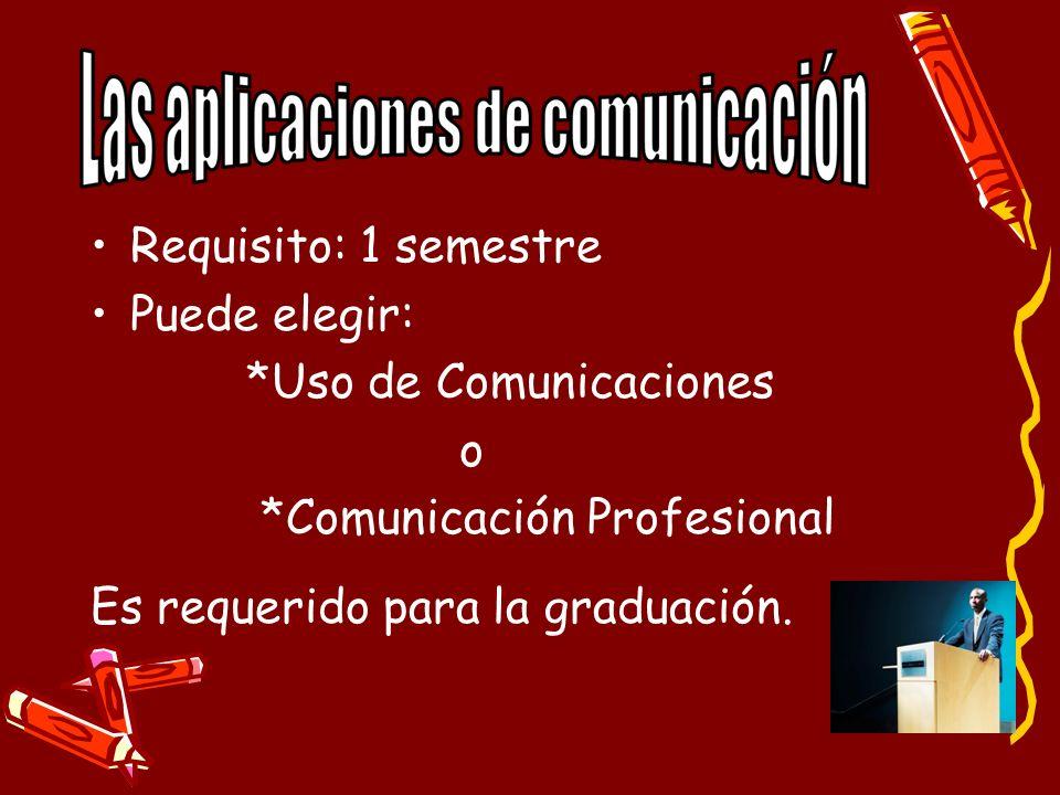 Requisito: 1 semestre Puede elegir: *Uso de Comunicaciones.