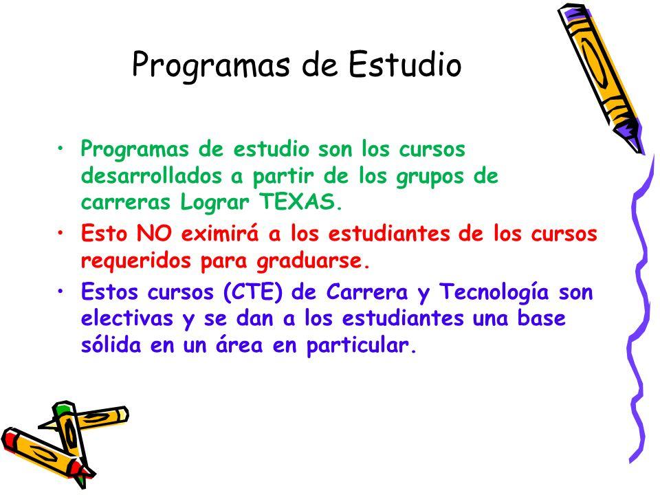 Programas de Estudio Programas de estudio son los cursos desarrollados a partir de los grupos de carreras Lograr TEXAS.
