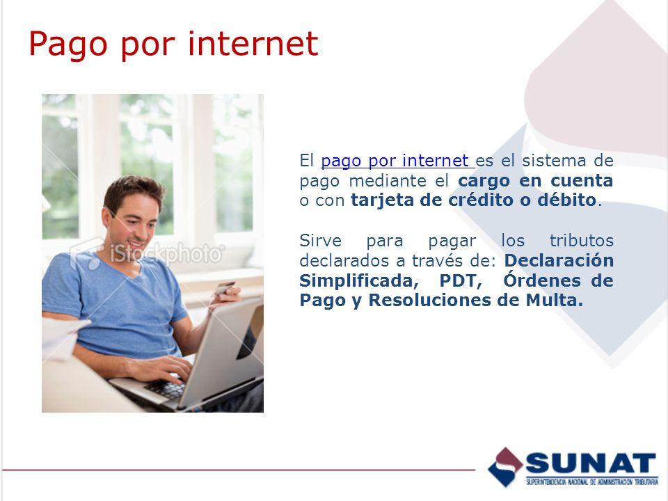 Pago por internet El pago por internet es el sistema de pago mediante el cargo en cuenta o con tarjeta de crédito o débito.
