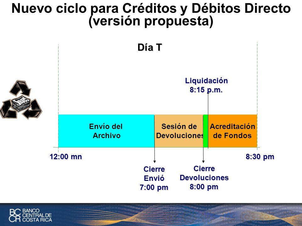 Nuevo ciclo para Créditos y Débitos Directo (versión propuesta)