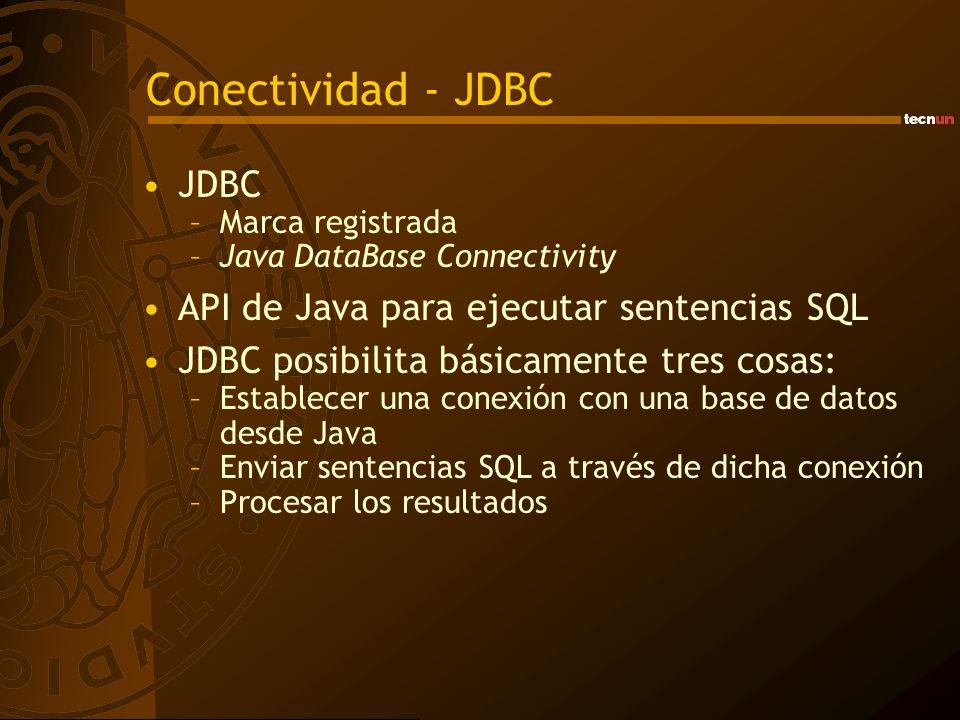 Conectividad - JDBC JDBC API de Java para ejecutar sentencias SQL