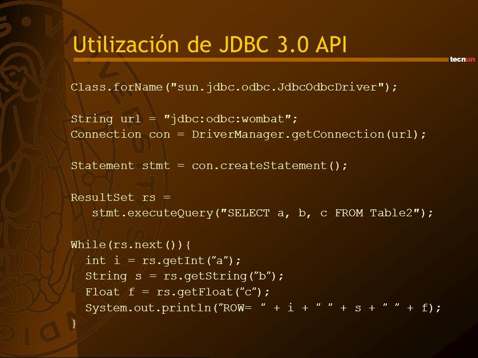 Utilización de JDBC 3.0 API
