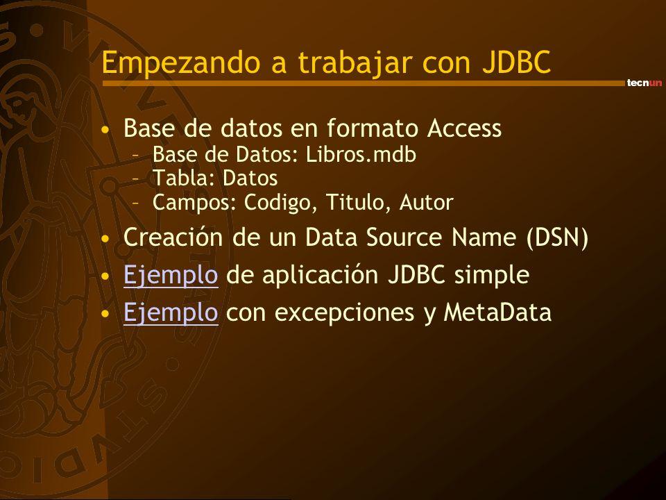 Empezando a trabajar con JDBC