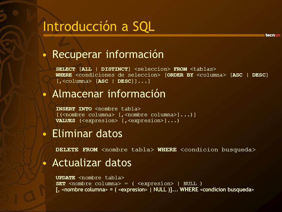 Introducción a SQL Recuperar información Almacenar información