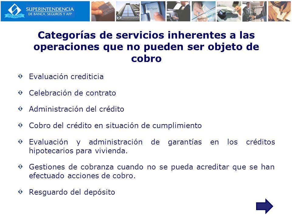 Categorías de servicios inherentes a las operaciones que no pueden ser objeto de cobro