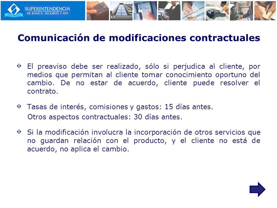 Comunicación de modificaciones contractuales
