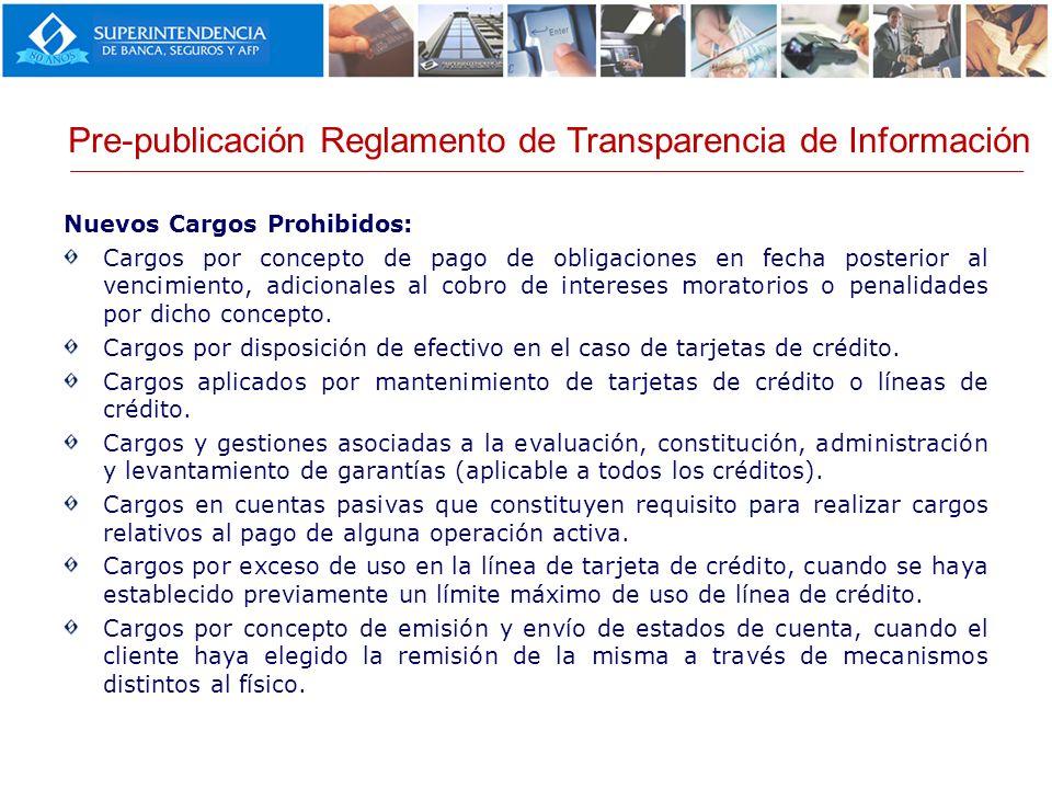 Pre-publicación Reglamento de Transparencia de Información