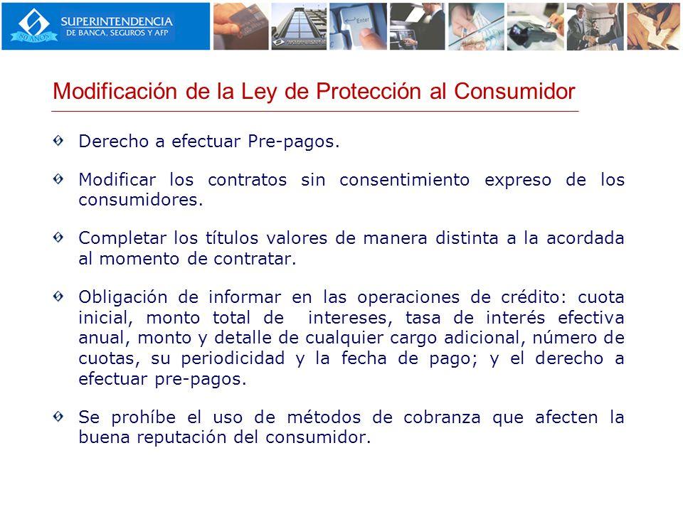 Modificación de la Ley de Protección al Consumidor