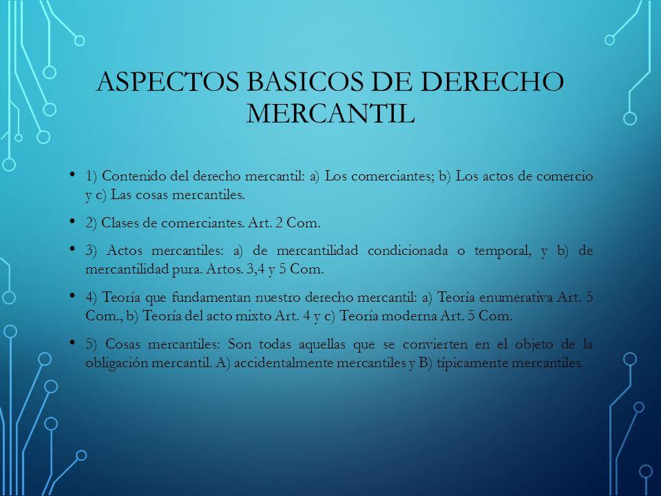 ASPECTOS BASICOS DE DERECHO MERCANTIL