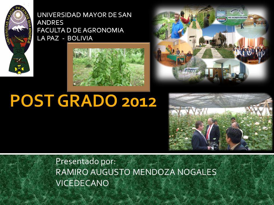 POST GRADO 2012 Presentado por: RAMIRO AUGUSTO MENDOZA NOGALES