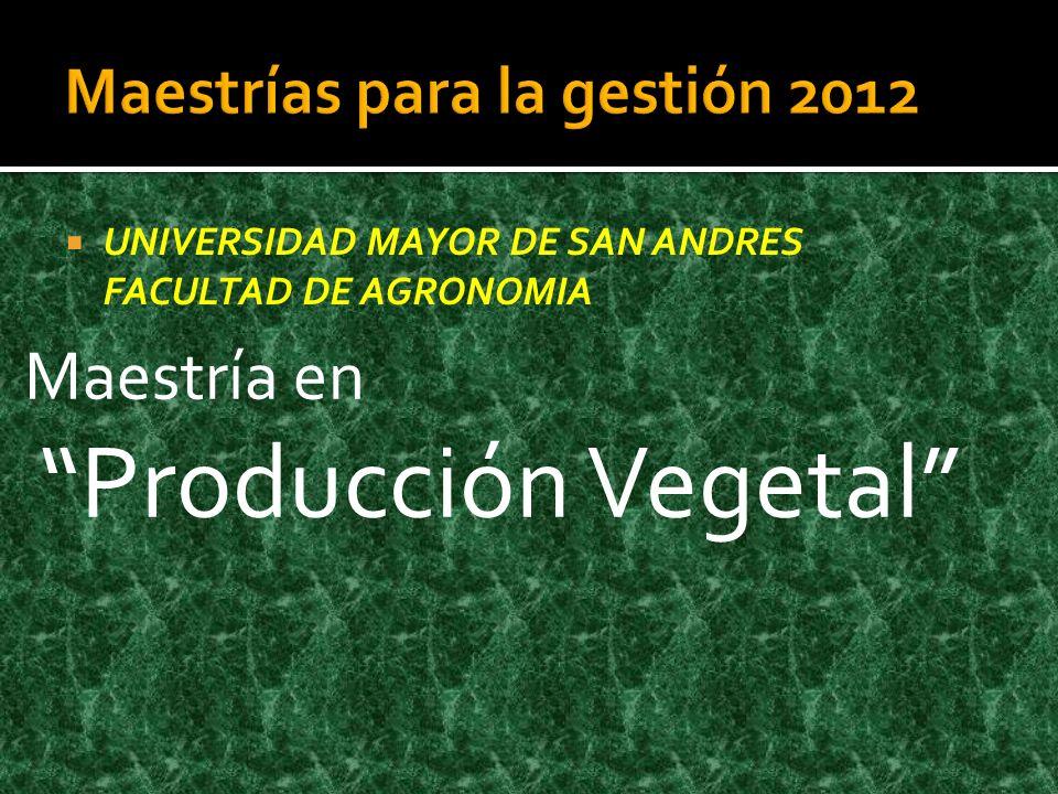 Maestrías para la gestión 2012