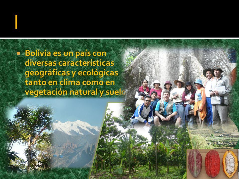 | Bolivia es un país con diversas características geográficas y ecológicas tanto en clima como en vegetación natural y suelos.