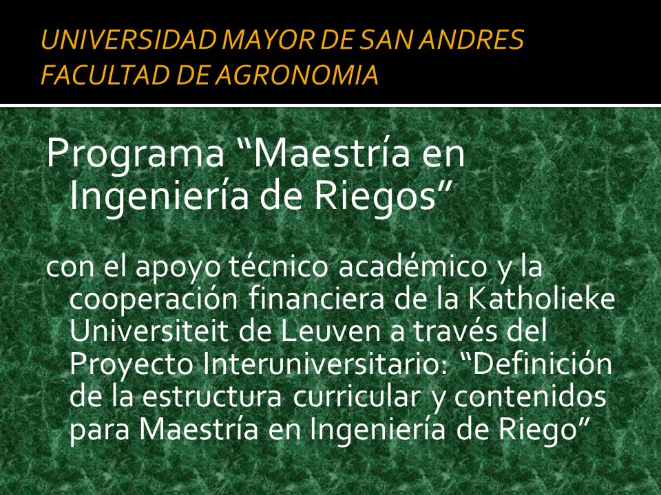 UNIVERSIDAD MAYOR DE SAN ANDRES FACULTAD DE AGRONOMIA