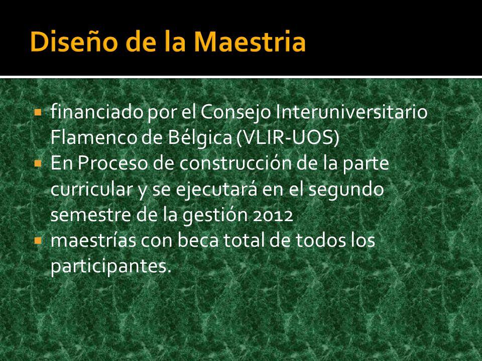 Diseño de la Maestria financiado por el Consejo Interuniversitario Flamenco de Bélgica (VLIR-UOS)
