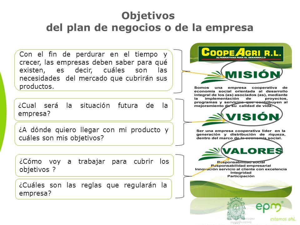 Objetivos del plan de negocios o de la empresa