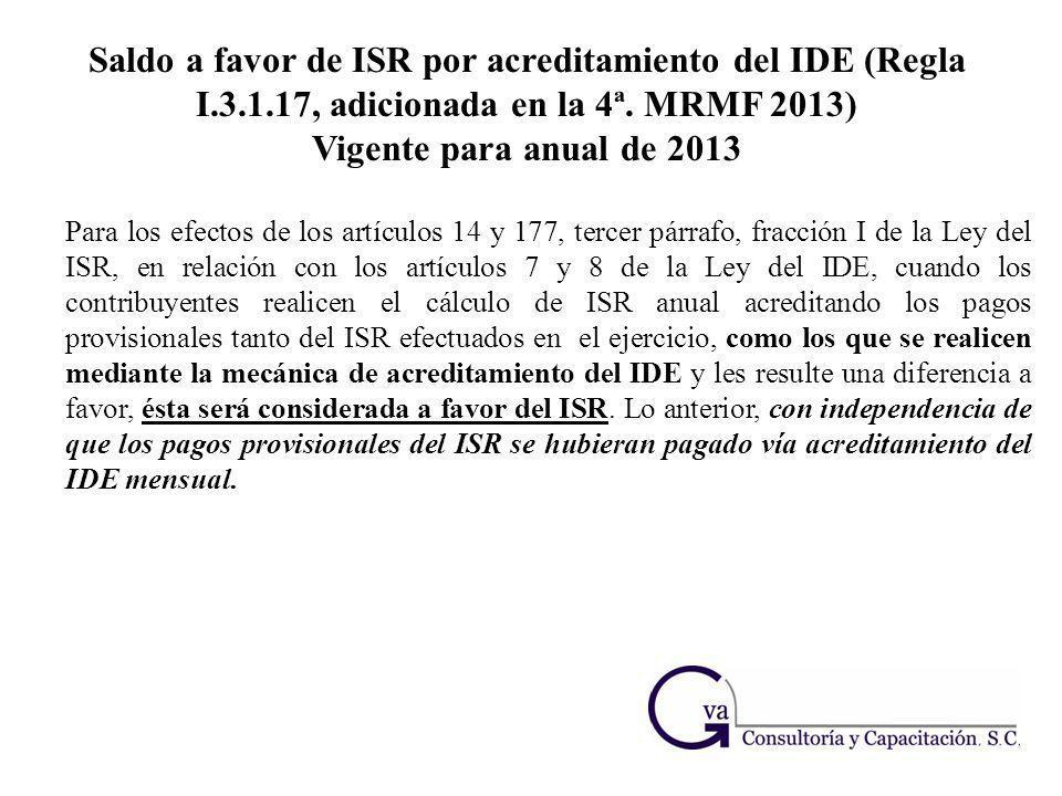 Saldo a favor de ISR por acreditamiento del IDE (Regla I. 3. 1