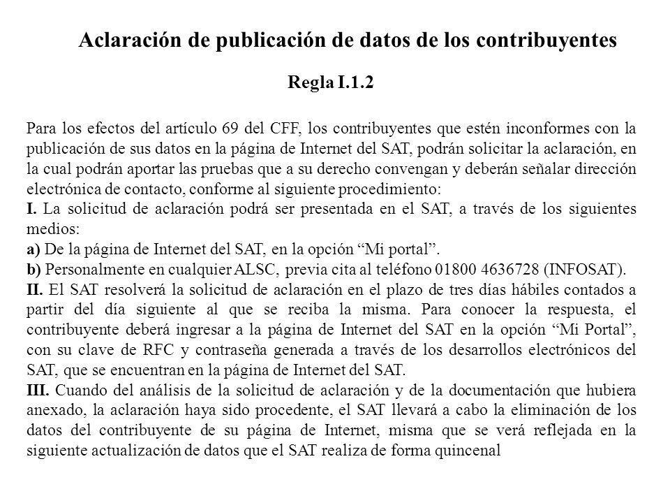 Aclaración de publicación de datos de los contribuyentes