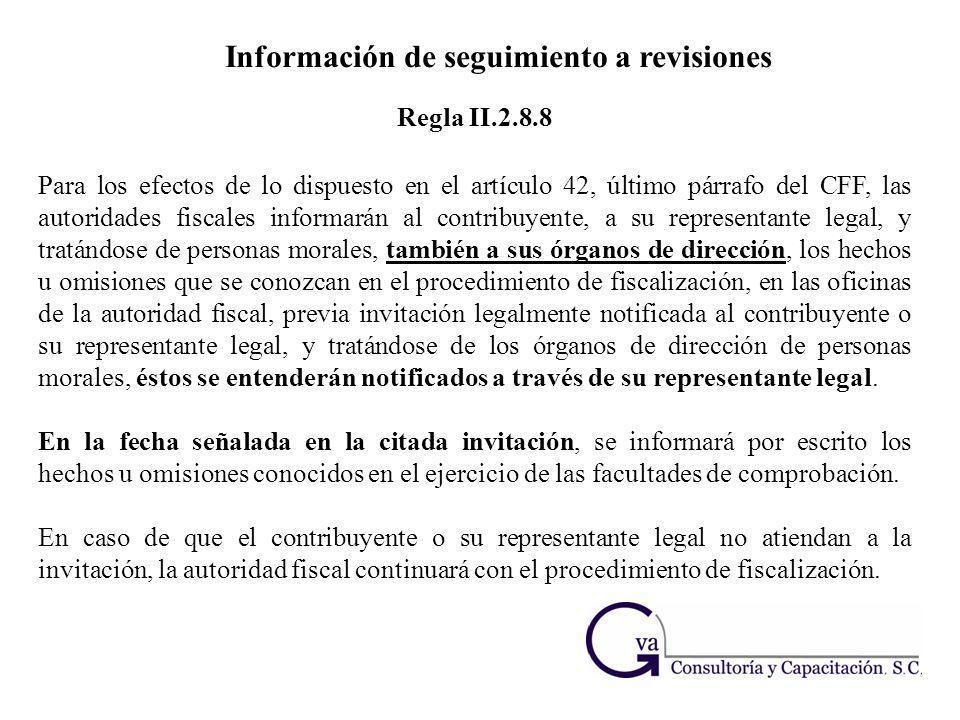 Información de seguimiento a revisiones