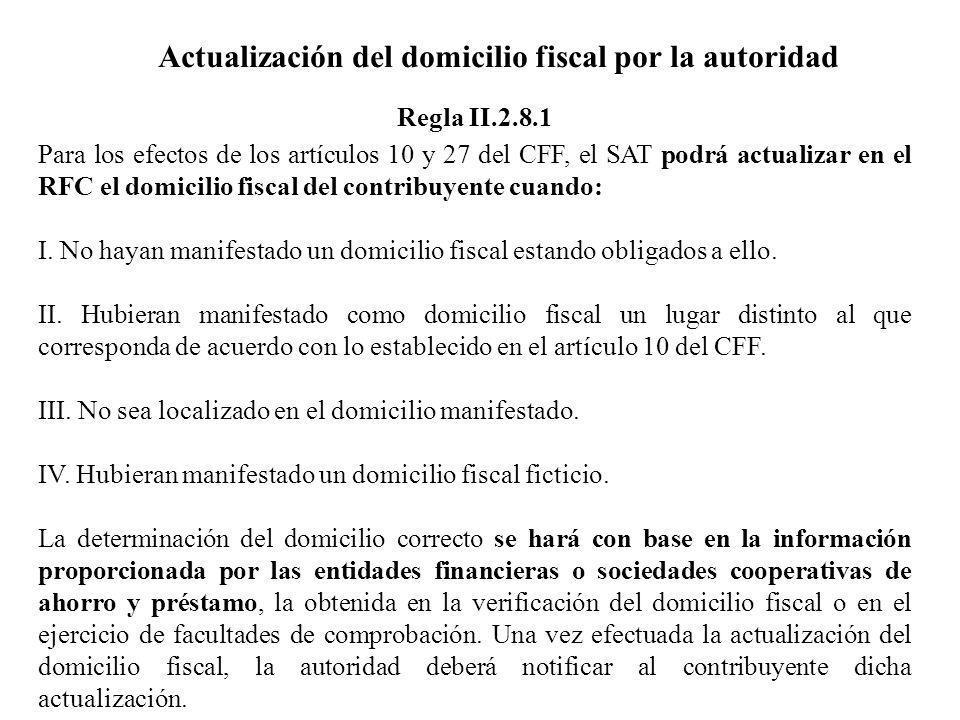 Actualización del domicilio fiscal por la autoridad