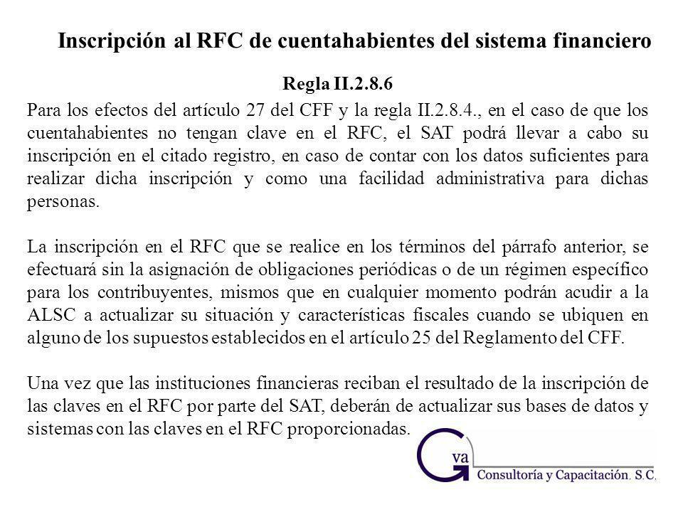 Inscripción al RFC de cuentahabientes del sistema financiero