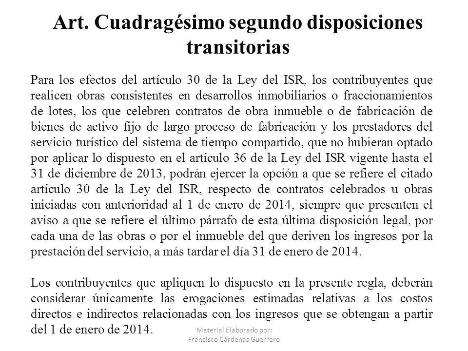 Art. Cuadragésimo segundo disposiciones transitorias