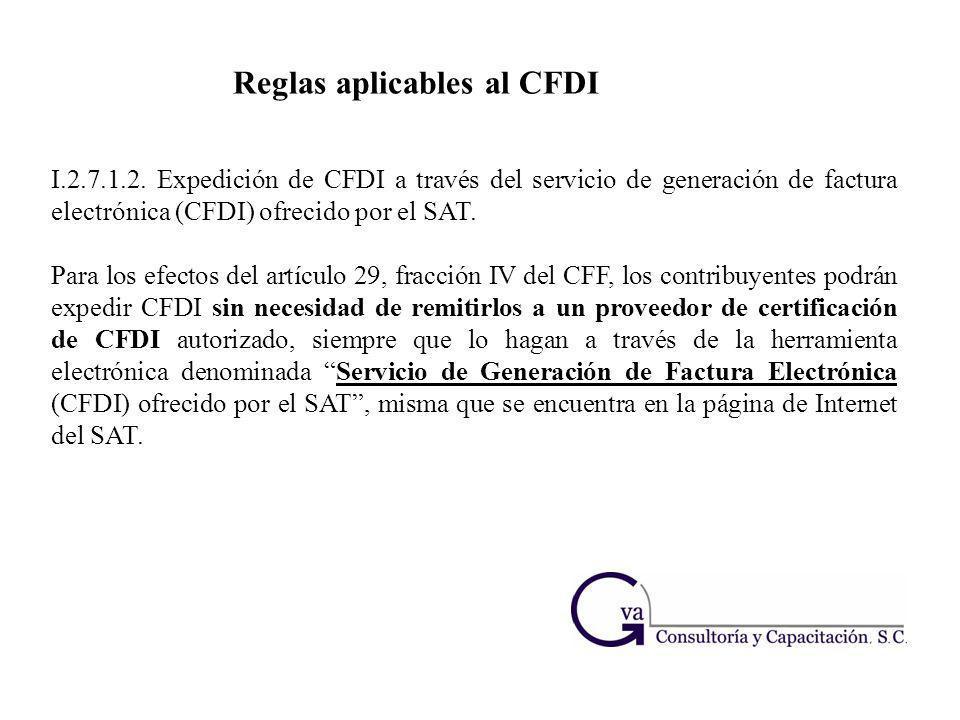 Reglas aplicables al CFDI