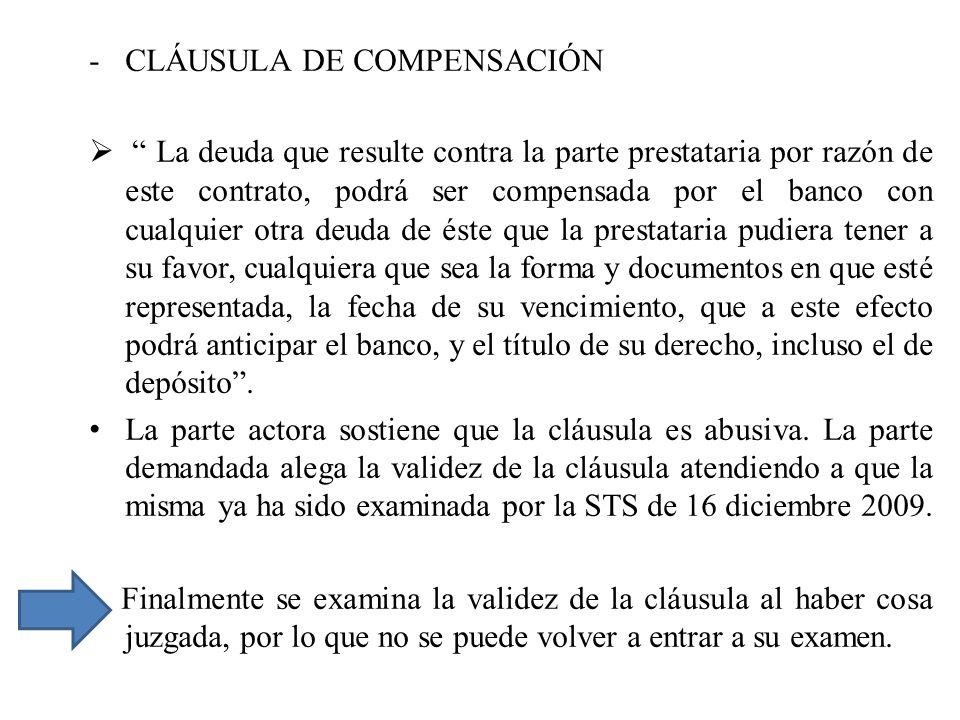 CLÁUSULA DE COMPENSACIÓN